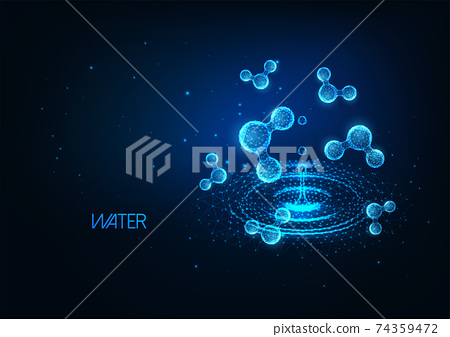 Futuristic cosmetology research banner concept with glowing low polygonal water molecules and puddle 74359472