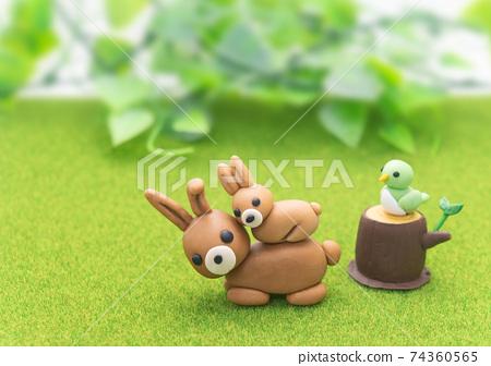 春天草甸植物和動物的形象 74360565