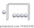 Newtons cradle pendulum with iron ball in motion, momentum, energy. Physical experiment. Isolated vector illustration on white background. 74362546