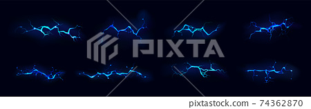 Lightning, electric strike during night storm set 74362870