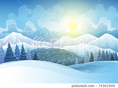 Winter mountains snowy landscape with pines forest and hills on background. Vector drawing of snow-covered field on which morning sunrise. Horizontal nature scene 74362980