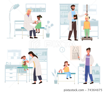 Set of illustrations about work with small patients in hospital. Children visiting the pediatrician 74364875