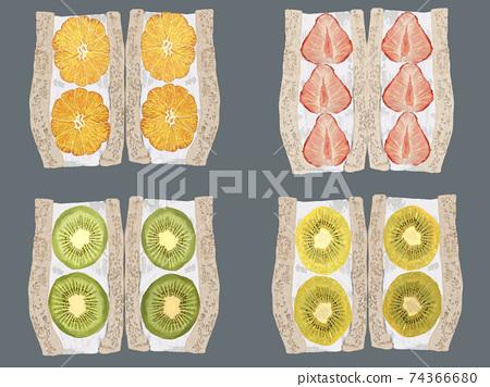 水果三明治設置灰色背景 74366680