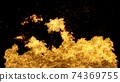 3D Abstract Flame Wall Background on Black 74369755