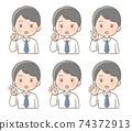 男性面部表情手指姿勢圖 74372913