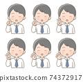 男性面部表情手指姿勢圖 74372917