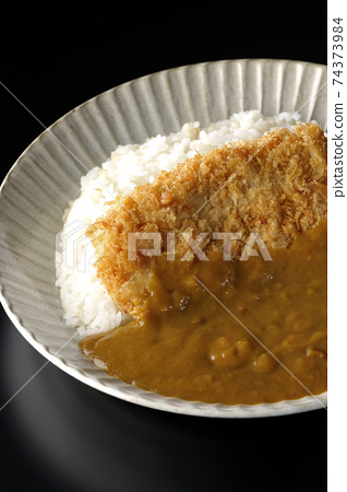 A black background shot of a cutlet curry with a large pork cutlet in the middle 74373984
