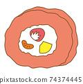 롤 케이크 딸기 74374445