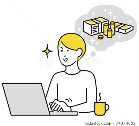 在PC上賺錢的男人 74374608