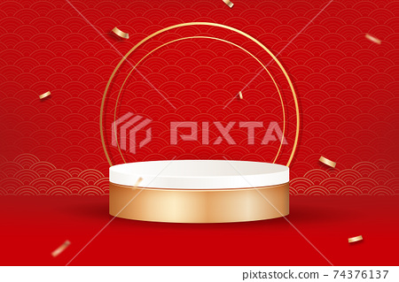 3D stage podium mockup for cosmetic and product placement 74376137