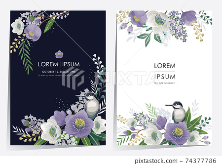 Vector illustration of a beautiful floral frame set in spring for Wedding, anniversary, birthday and party. Design for banner, poster, card, invitation and scrapbook  74377786