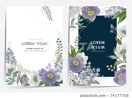 Vector illustration of a beautiful floral frame set in spring for Wedding, anniversary, birthday and party. Design for banner, poster, card, invitation and scrapbook  74377788