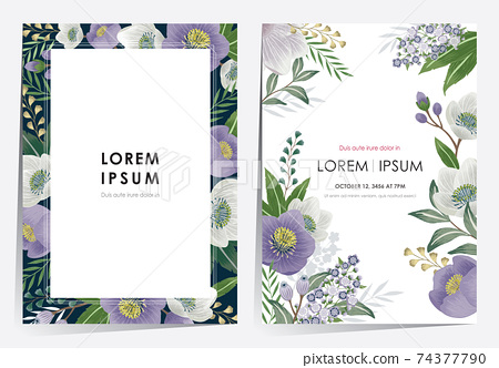 Vector illustration of a beautiful floral frame set in spring for Wedding, anniversary, birthday and party. Design for banner, poster, card, invitation and scrapbook  74377790