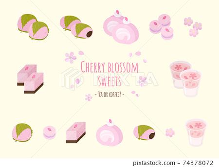 圖設置的櫻花糖果與背景 74378072