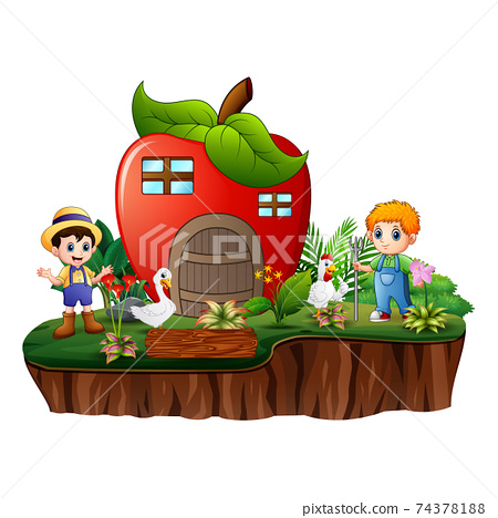 The farmers with apple house on the island 74378188