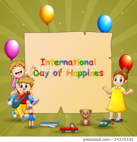 International Day of Happiness template design with children and toys 74378195