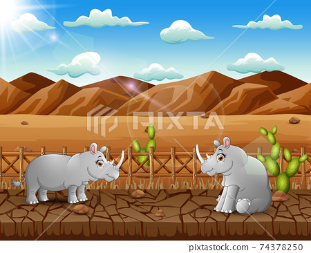 Illustration of two rhinos living in the dry land 74378250