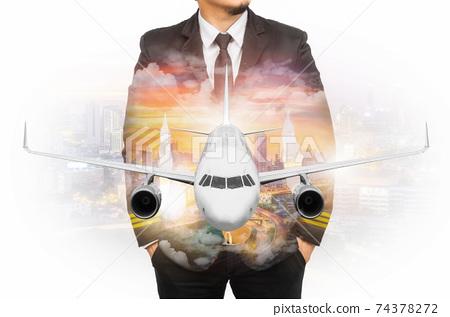 Double exposure pilot wearing suit 74378272