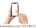 Hand man holding mobile smartphone with blank screen isolated on white background with clipping path 74378672