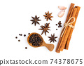 anise star with cinnamon stick ,Garlic and Pepper isolated on white background 74378675