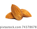 Almonds isolated on white background 74378678