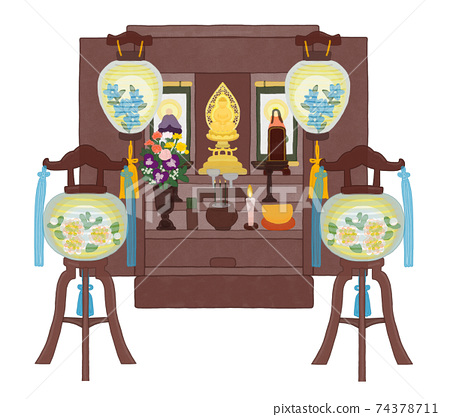 Obon佛教祭壇開幕和Obon燈籠套裝 74378711