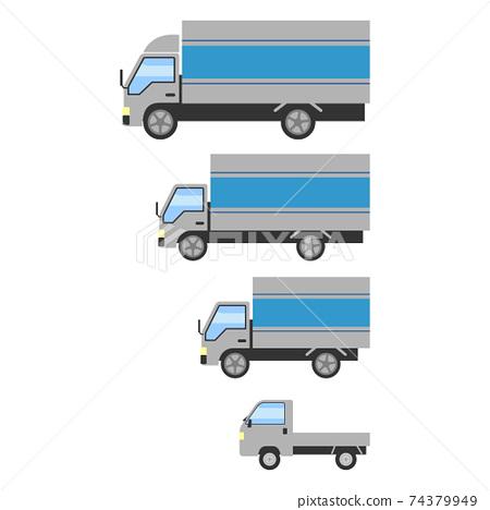 各種尺寸的卡車的插圖集 74379949