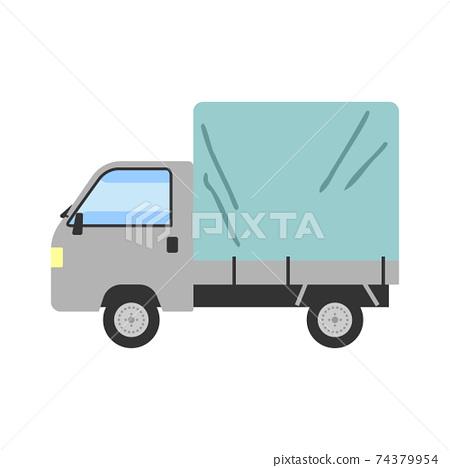 一輛輕型卡車的裝載平台覆蓋著一張紙的插圖 74379954