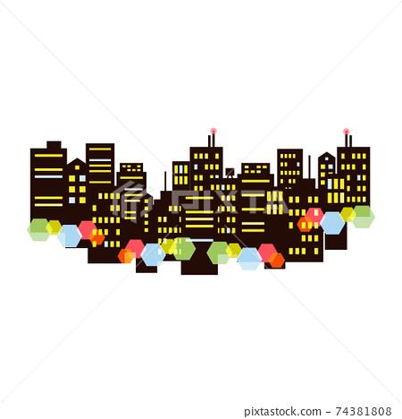 晚上與美麗的霓虹燈的城市景觀的插圖 74381808