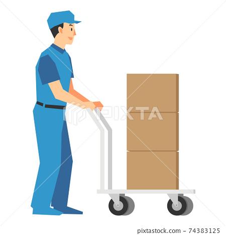 카트에 짐을 배달 업무 남성의 일러스트 74383125