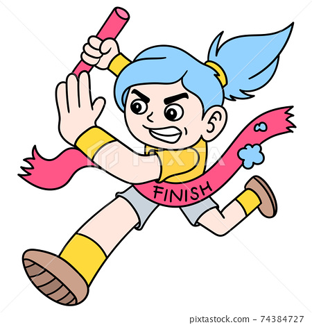 female runner to win Olympics across the finish line ribbon, doodle icon image kawaii 74384727