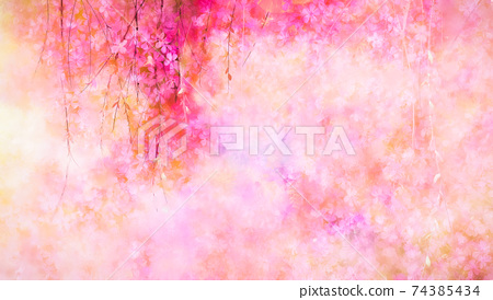 Abstract art, colorful oil painting on canvas texture. Illustration flower painting with yellow, red and pink color for wallpaper background. Spring, summer season, nature floral design with oil paint 74385434
