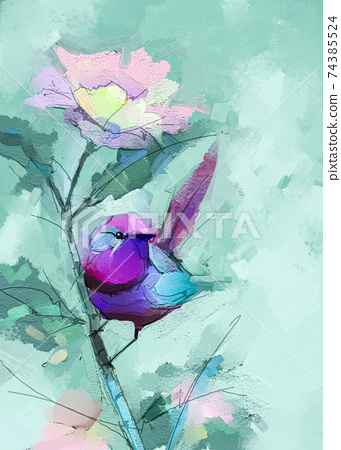 Abstract colorful oil, acrylic painting of bird and spring flower. Modern art paintings brush stroke on canvas. Illustration oil painting, animal and floral for background. 74385524