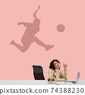 Young woman dreaming about future in big sport during her work in office. Becoming a legend. Shadow of dreams on the wall behind her. Copyspace. 74388230