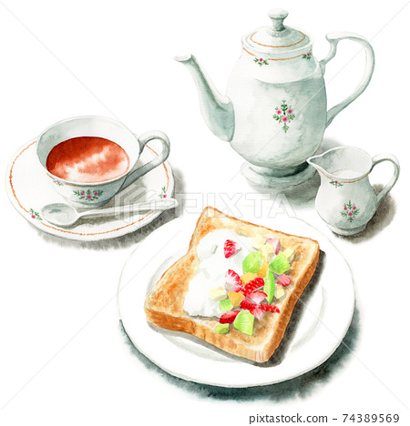 吐司和茶具與模擬水彩水果 74389569