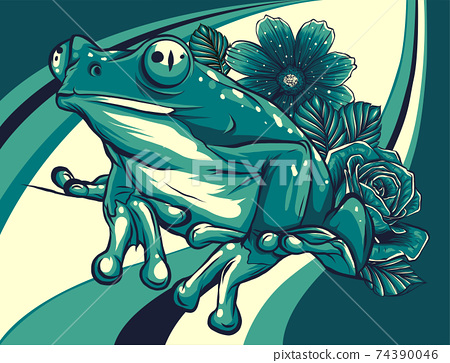 frog with flower colored background vector illustration 74390046