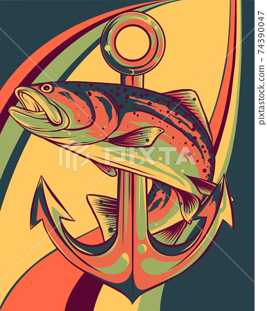 fish around the anchor vector illustration art 74390047