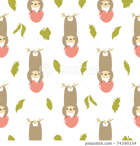 Seamless pattern with cute sloths hanging on a tree. 74390134