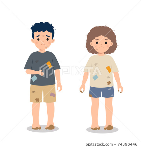 Dirty and poor hungry children. Charity awareness concept clip art. Flat vector cartoon style. 74390446