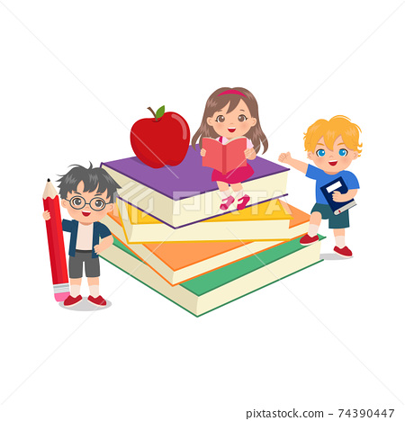 Cute kids read and study together in big pile of books. Back to school clip art. Flat vector design. 74390447