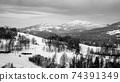 Wintertime rural hilly landscape 74391349