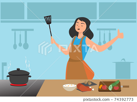 A woman cooking in a good mood She is making chicken curry For dinner 74392773