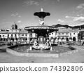 Fountain on Plaza de Armas in Cusco 74392806