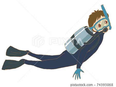 스쿠버 다이빙을하는 남자. 74393868