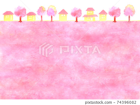Background illustration of cherry blossoms and townscape 74396082
