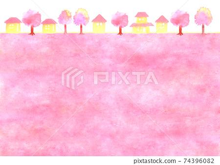 벚꽃과 거리 배경 일러스트 74396082