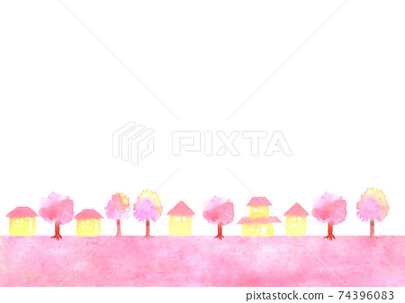 Background illustration of cherry blossoms and townscape 74396083