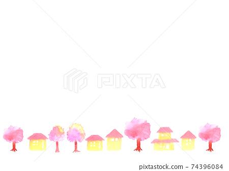 벚꽃과 거리 배경 일러스트 74396084