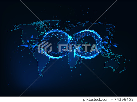 Futuristic global circular economy concept with glowing low polygonal infinity sign on the world map 74396455