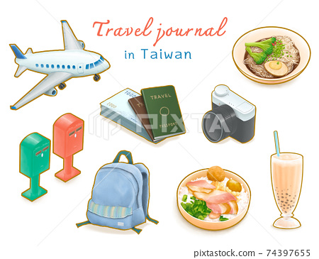 Travel Journal in Taiwan collection, digital painting of airplane, passport, post box, backpack, camera, train lunch box, Taiwanese noodles, bubble tea isometric cartoon icon raster 3D illustration. 74397655